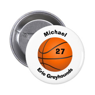 Choose your Team Color Personalized Basketball 6 Cm Round Badge