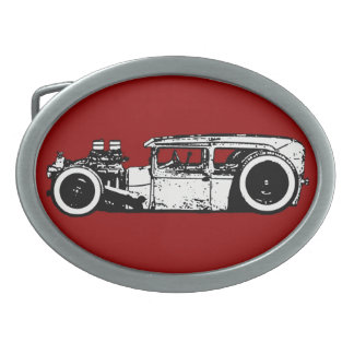 Chopped Hot Rod/Rat Rod Silouette Belt Buckle