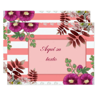 Choral pink invitation with lines and butterflies