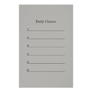 Chores List Stationery