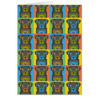 Chorkie Dog Cartoon Pop-Art Card