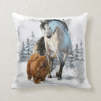 Chow Chow and horse Cushion