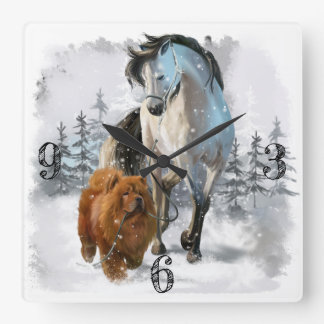 Chow Chow and horse Square Wall Clock