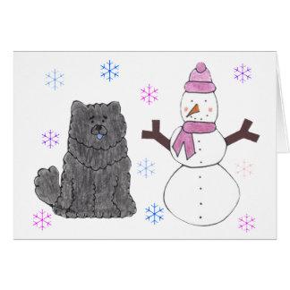 Chow Chow Black & Snowman Card