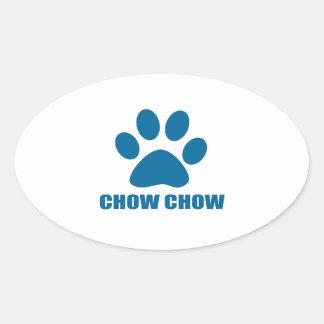 CHOW CHOW DOG DESIGNS OVAL STICKER