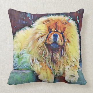 Chow Chow Dog on Porch in the Rain Cushion