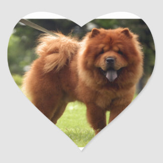 Chow Chow Dog Poses Heart Sticker