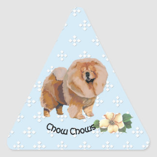 Chow Chow, Floral on Blue with White Diamonds Triangle Sticker