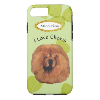 Chow Chow on Green Leaves w/Owners Name iPhone 8/7 Case