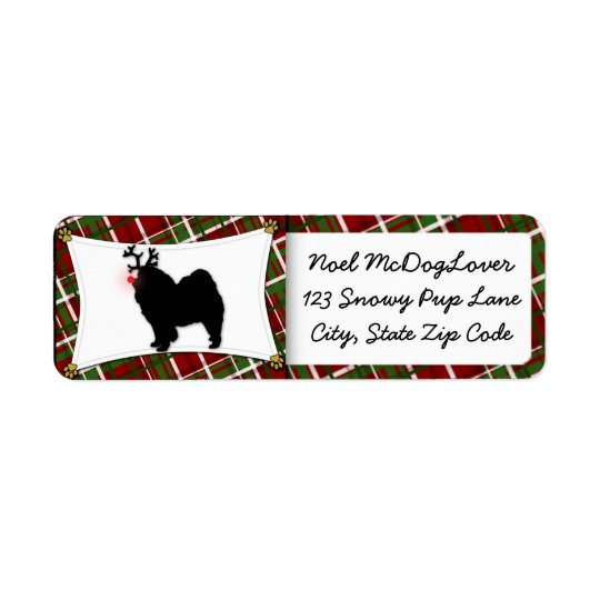 Chow Chow Reindeer Christmas Return Address Label