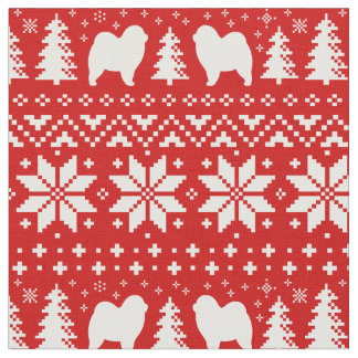 Chow Chow Silhouettes Christmas Pattern Red Fabric