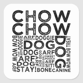 Chow Chow Typography Square Sticker