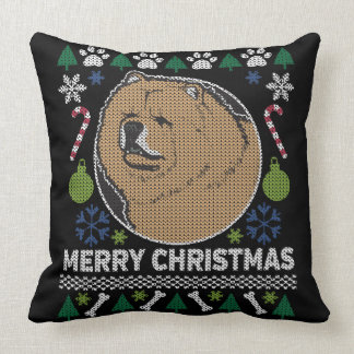 Chow Chow Ugly Christmas Sweater Dog Design Cushion