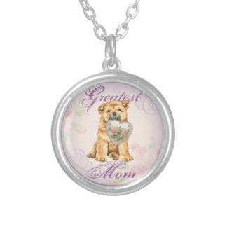 Chow Heart Mom Silver Plated Necklace