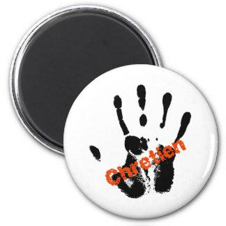 Chrétien Rouge sur mains noire Magnets