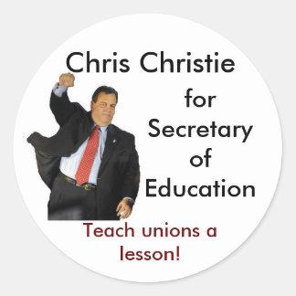 Chris Christie for Secretary of Education Round Sticker