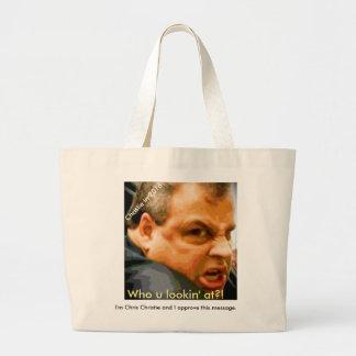 Chris Christie - Who u lookin' at?! Jumbo Tote Bag