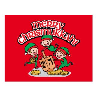 Chrismukkah greeting card with elves and dreidels