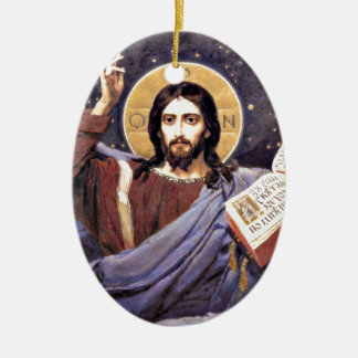 Christ Almighty, Viktor Vasnetsov painting Ceramic Ornament