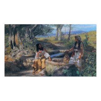 Christ and Samaritan woman circa 1890 Business Card