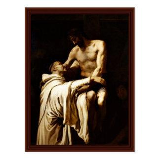 Christ And St. Bernard By Ribalta Francisco Post Card