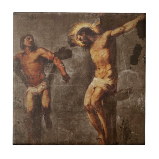 Christ and the Good Thief Small Square Tile