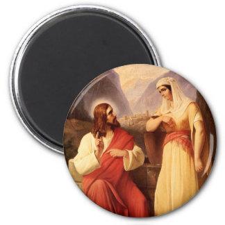 Christ and the Samaritan by Christian Schleisner 6 Cm Round Magnet