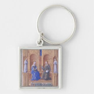 Christ and the Virgin Mary Enthroned Silver-Colored Square Key Ring