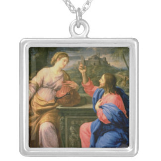Christ and the Woman from Samaria Silver Plated Necklace