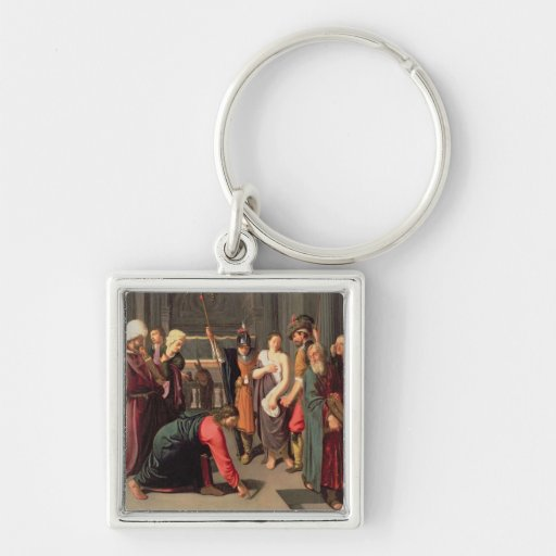 Christ and the Woman Taken in Adultery Keychains