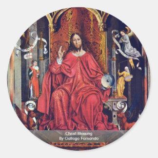 Christ Blessing By Gallego Fernando Round Sticker