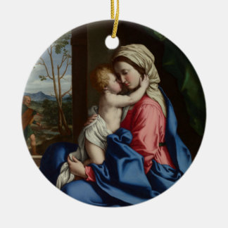 Christ Child Embracing His Mother Ceramic Ornament