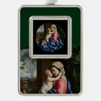 Christ Child Embracing His Mother Silver Plated Framed Ornament