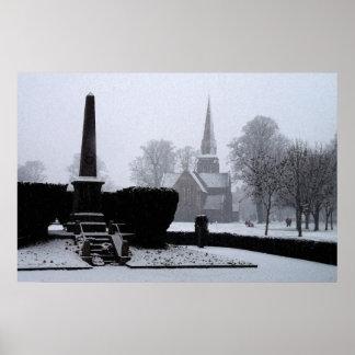 Christ Church & Memorial in Snow Watercolour Poster