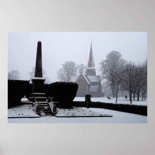 Christ Church & Memorial in Snow Watercolour Print
