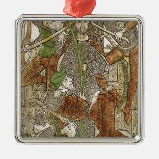 Christ Crowned with Thorns Silver-Colored Square Decoration