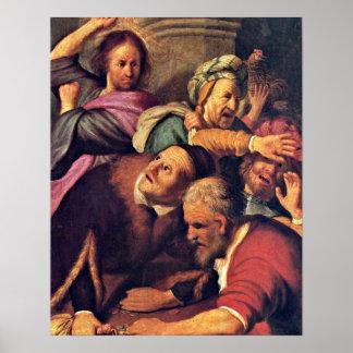 Christ driving money-changer by Rembrandt van Rijn Poster