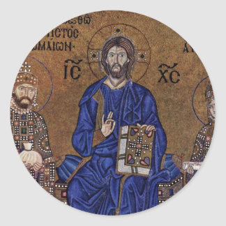 Christ Enthroned And Blessing From The Emperor Round Stickers