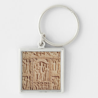 Christ Enthroned, from an Evangelistary Silver-Colored Square Key Ring