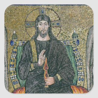 Christ enthroned with the angels square sticker