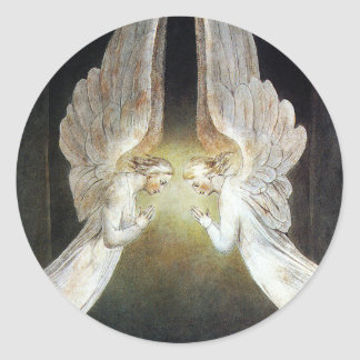 Christ Guarded by Angels by William Blake Classic Round Sticker