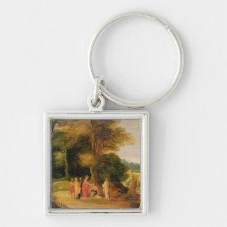 Christ Healing the Blind Man Silver-Colored Square Key Ring