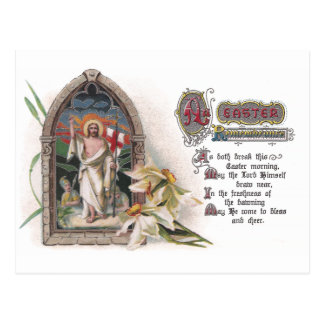 Christ in Easter Church Window with Narcissus Postcard