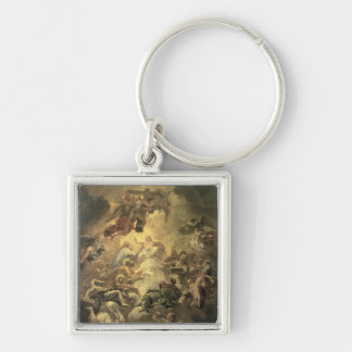 Christ in Glory Silver-Colored Square Key Ring