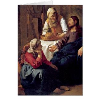 Christ In House Of Martha By Johannes Vermeer Card
