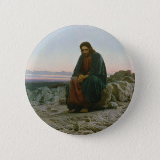 Christ in the Desert by Ivan Nikolaevich Kramskoi 6 Cm Round Badge
