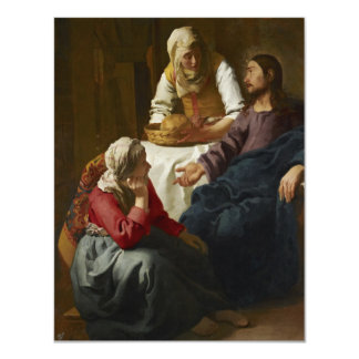 """Christ in the House of Martha and Mary by Vermeer 4.25"""" X 5.5"""" Invitation Card"""