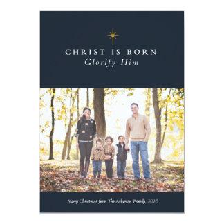 Christ is born religious Christmas photo card 13 Cm X 18 Cm Invitation Card