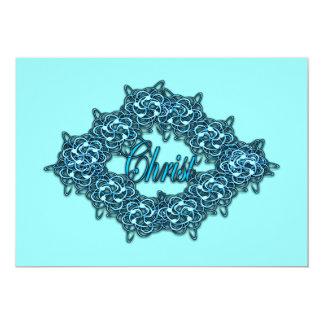 Christ is the Center - Ice Blue 13 Cm X 18 Cm Invitation Card