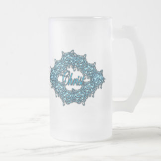 Christ is the Center - Ice Blue Frosted Glass Beer Mug